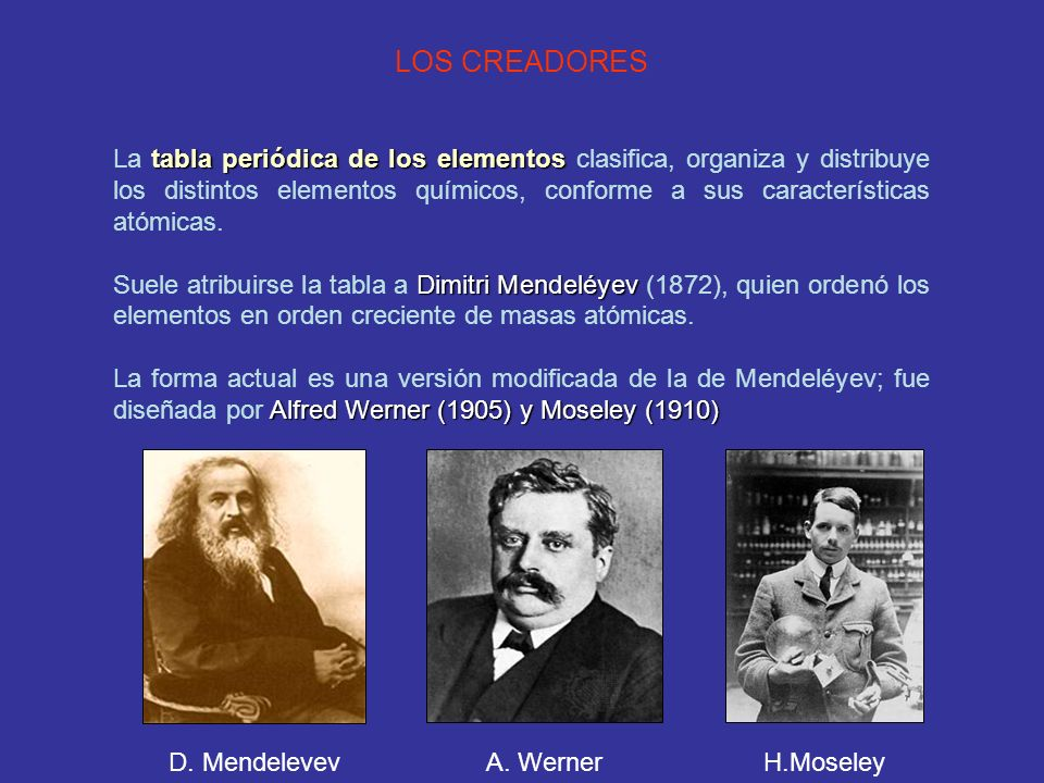 La tabla peridica ppt video online descargar 3 los creadores la tabla peridica de los elementos clasifica organiza urtaz Image collections