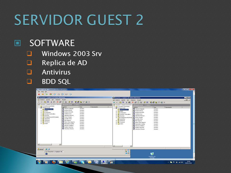 SERVIDOR GUEST 2 SOFTWARE Windows 2003 Srv Replica de AD Antivirus