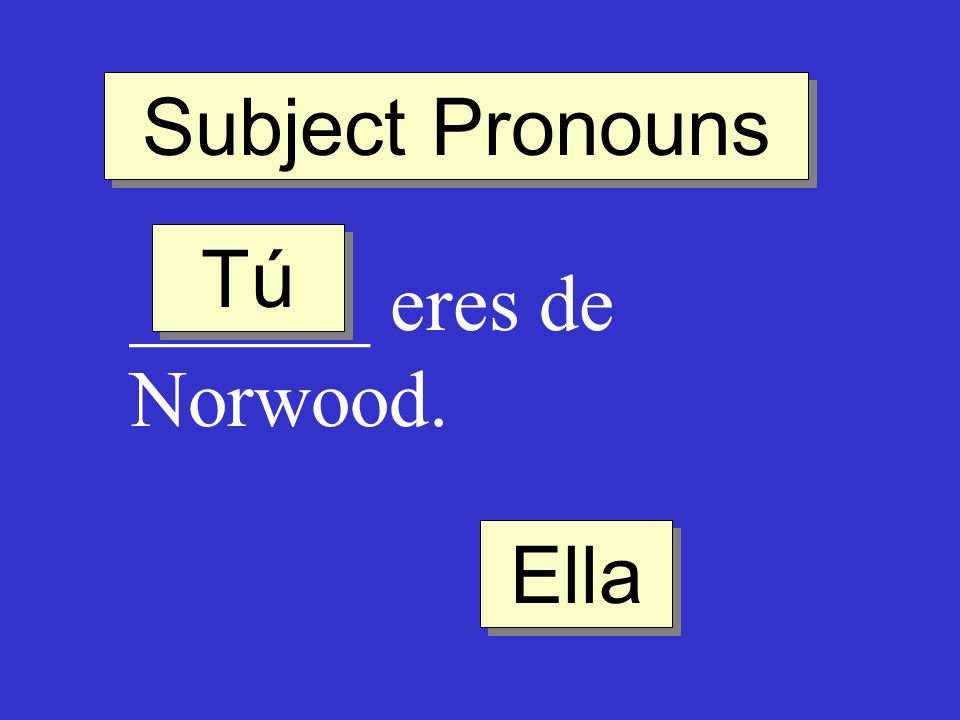 Subject Pronouns Tú ______ eres de Norwood. Ella