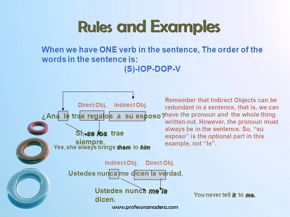 Rules and Examples When we have ONE verb in the sentence, The order of the words in the sentence is: