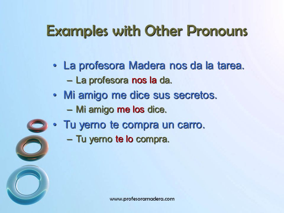 Examples with Other Pronouns
