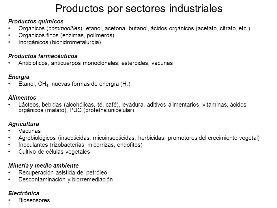 Productos por sectores industriales