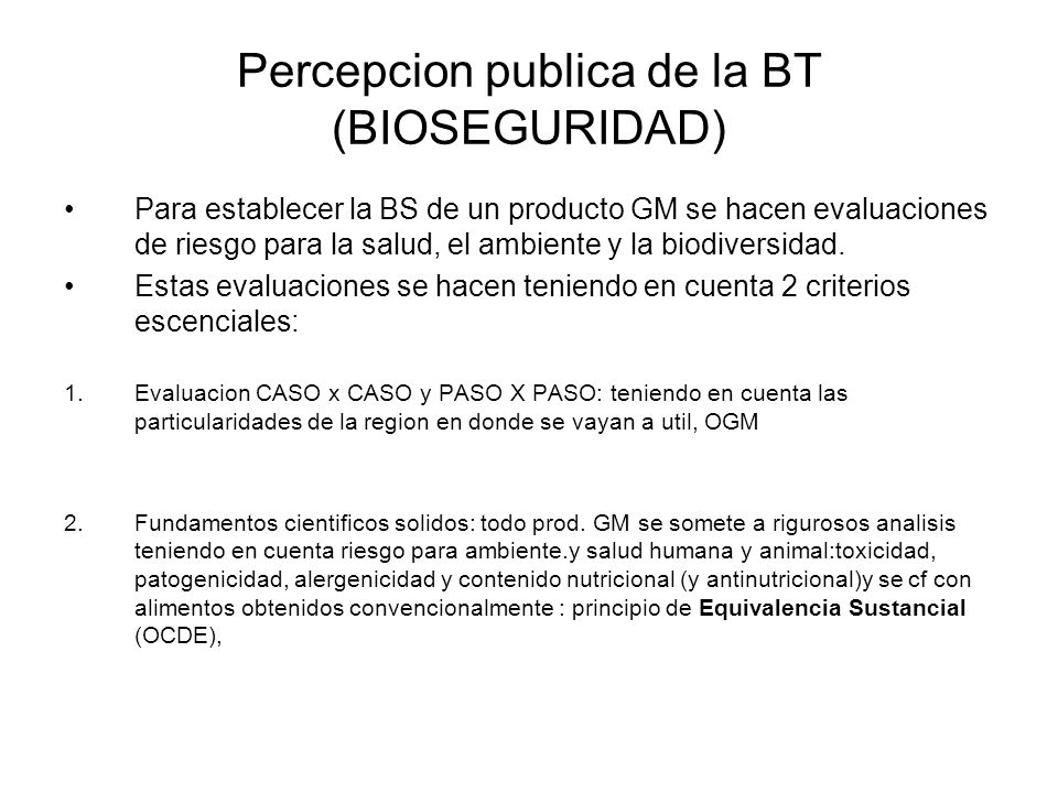 Percepcion publica de la BT (BIOSEGURIDAD)