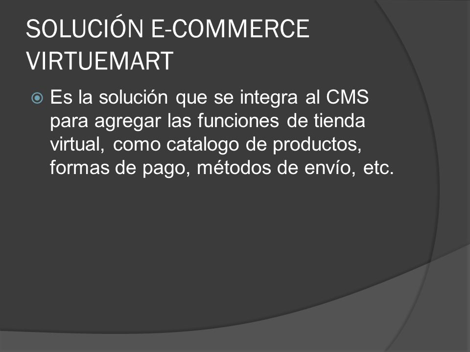 SOLUCIÓN E-COMMERCE VIRTUEMART