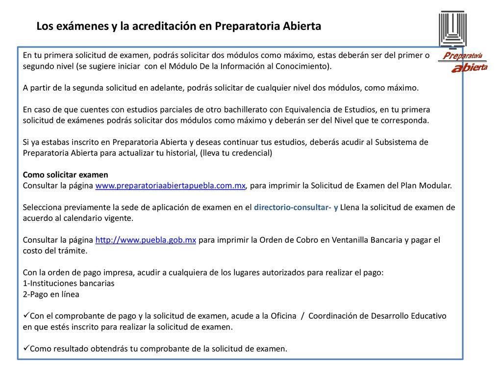 Preparatoria Abierta Puebla Plática Informativa Plan Modular