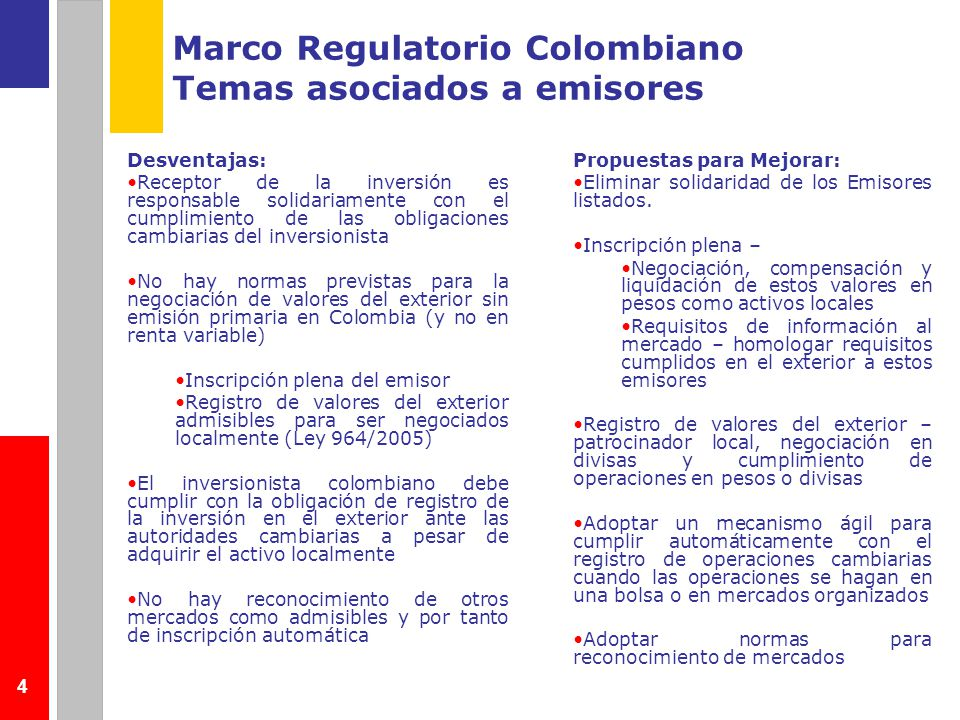 Marco Regulatorio Colombiano Temas asociados a emisores