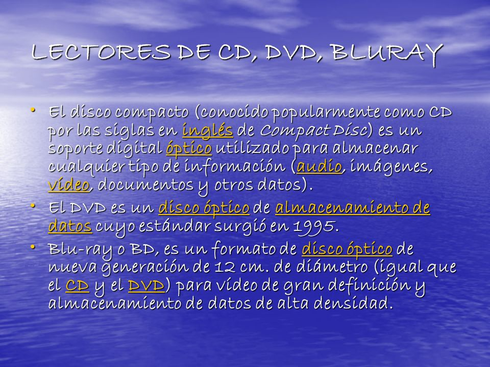 LECTORES DE CD, DVD, BLURAY