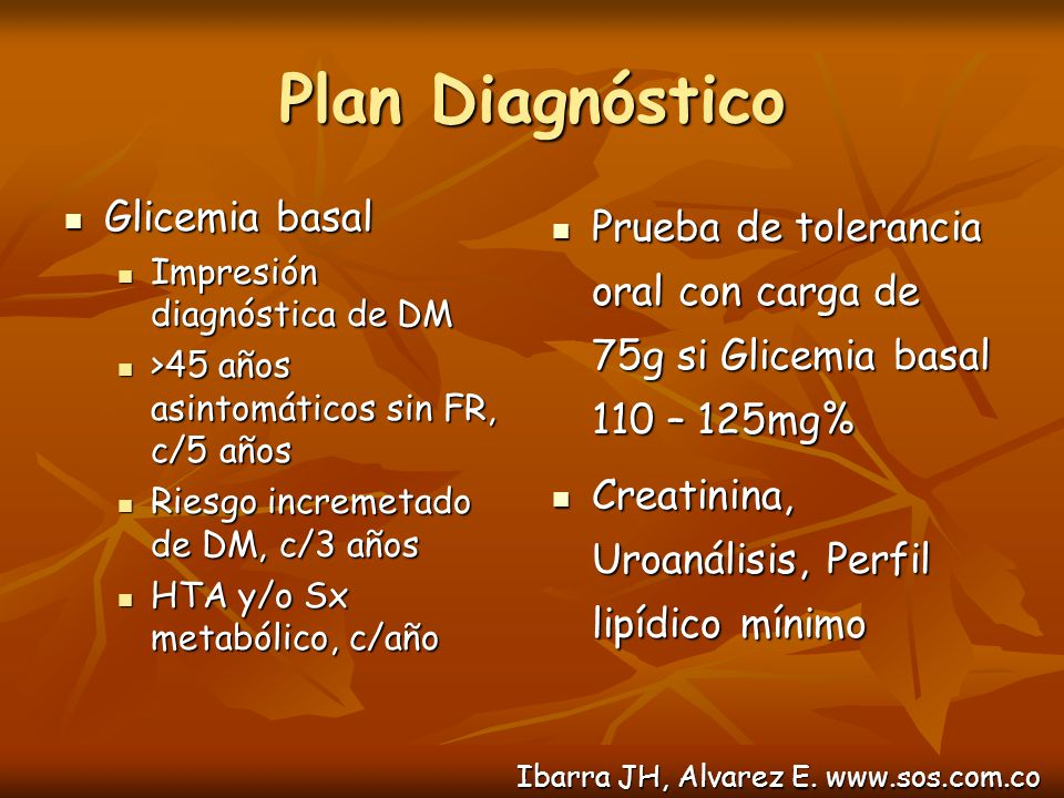 Plan Diagnóstico Glicemia basal
