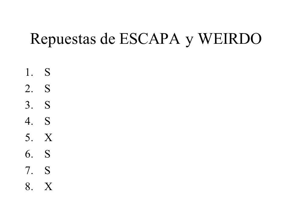 Repuestas de ESCAPA y WEIRDO