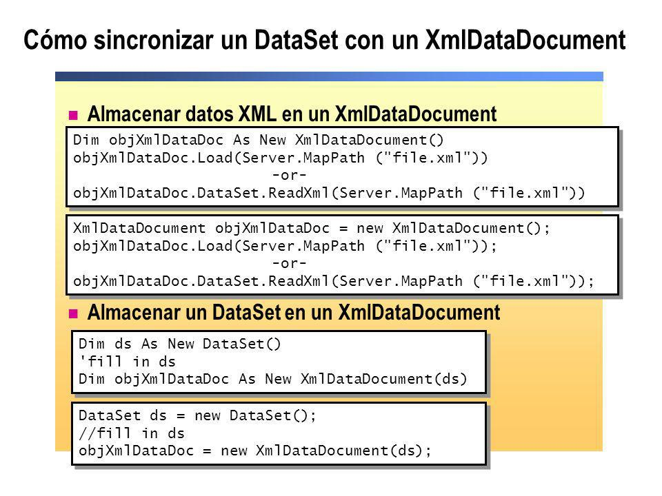 Cómo sincronizar un DataSet con un XmlDataDocument
