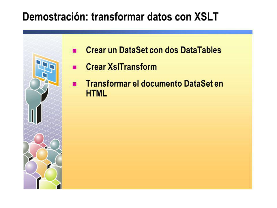 Demostración: transformar datos con XSLT
