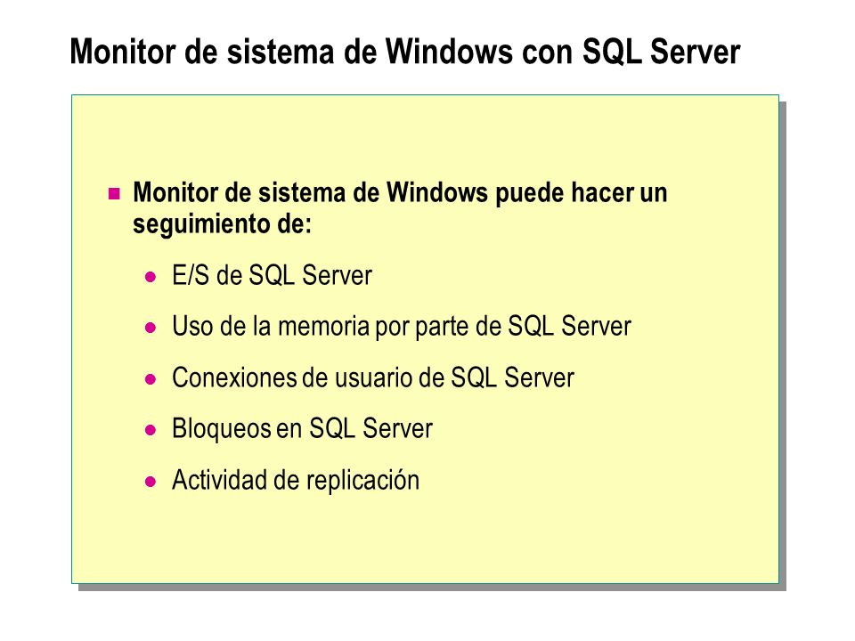 Monitor de sistema de Windows con SQL Server
