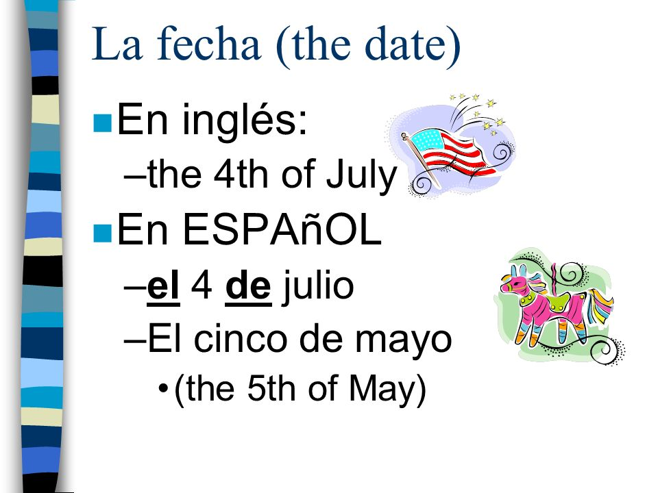 La fecha (the date) En inglés: En ESPAñOL the 4th of July
