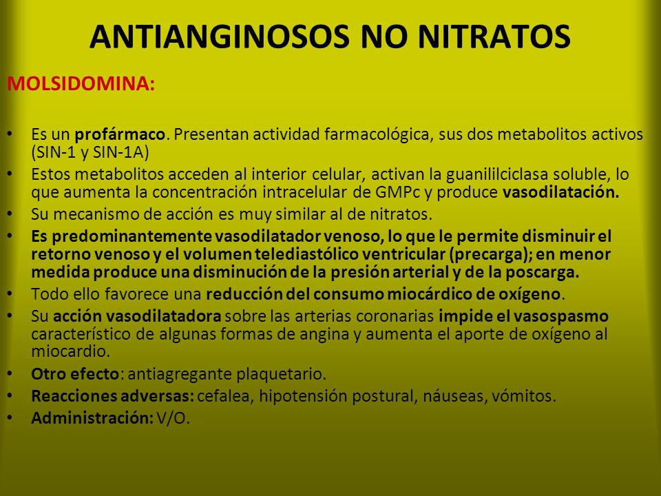 ANTIANGINOSOS NO NITRATOS