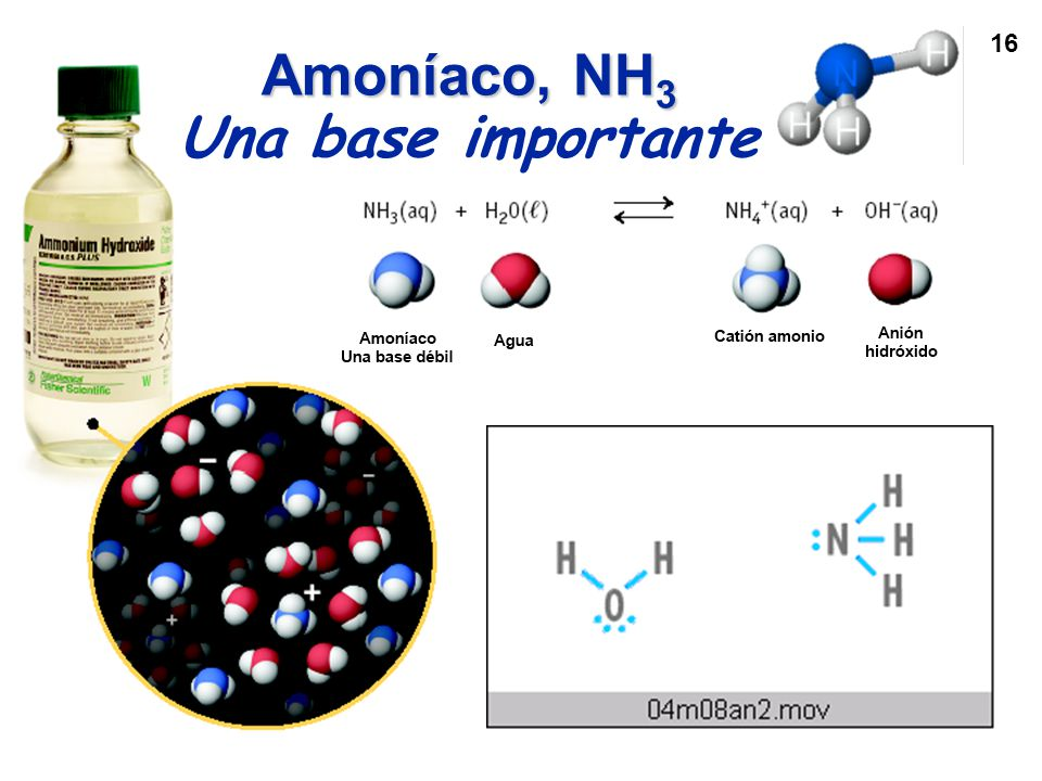 Amoníaco, NH3 Una base importante