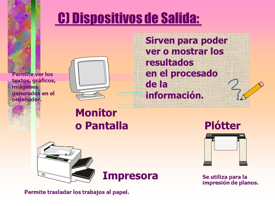 C) Dispositivos de Salida: