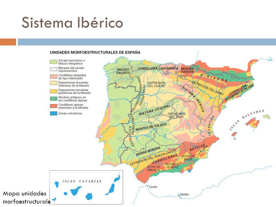 mapa iberico Sistema Ibérico Mapa unidades morfoestructurales.   ppt video  mapa iberico