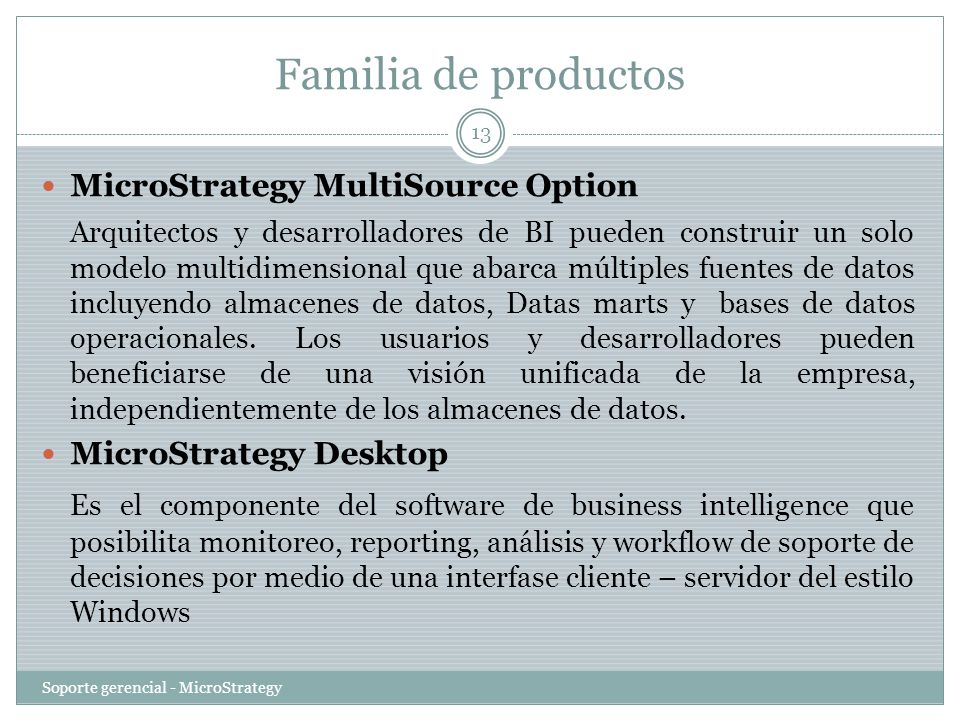 Familia de productos MicroStrategy MultiSource Option.