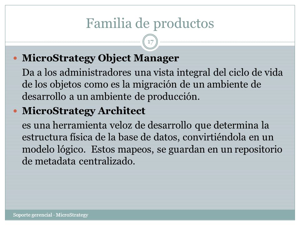 Familia de productos MicroStrategy Object Manager