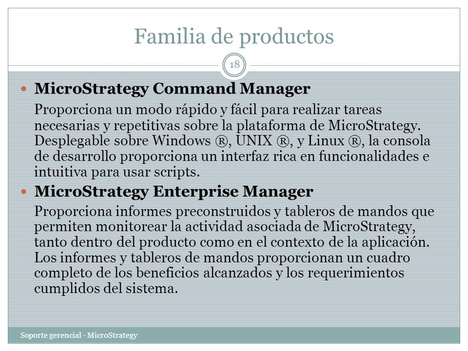 Familia de productos MicroStrategy Command Manager