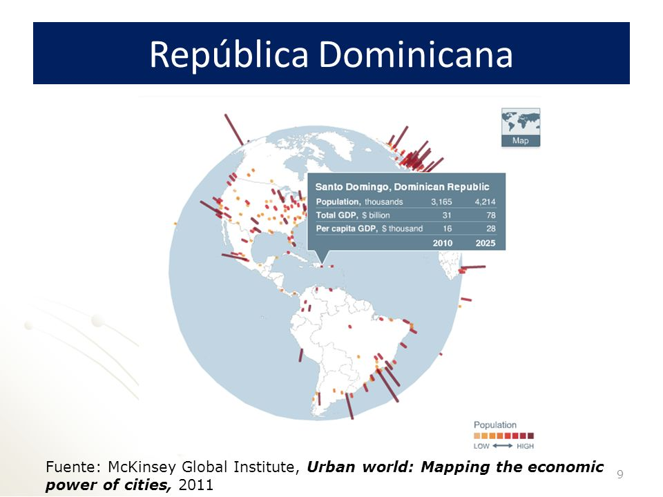 República Dominicana Fuente: McKinsey Global Institute, Urban world: Mapping the economic power of cities,