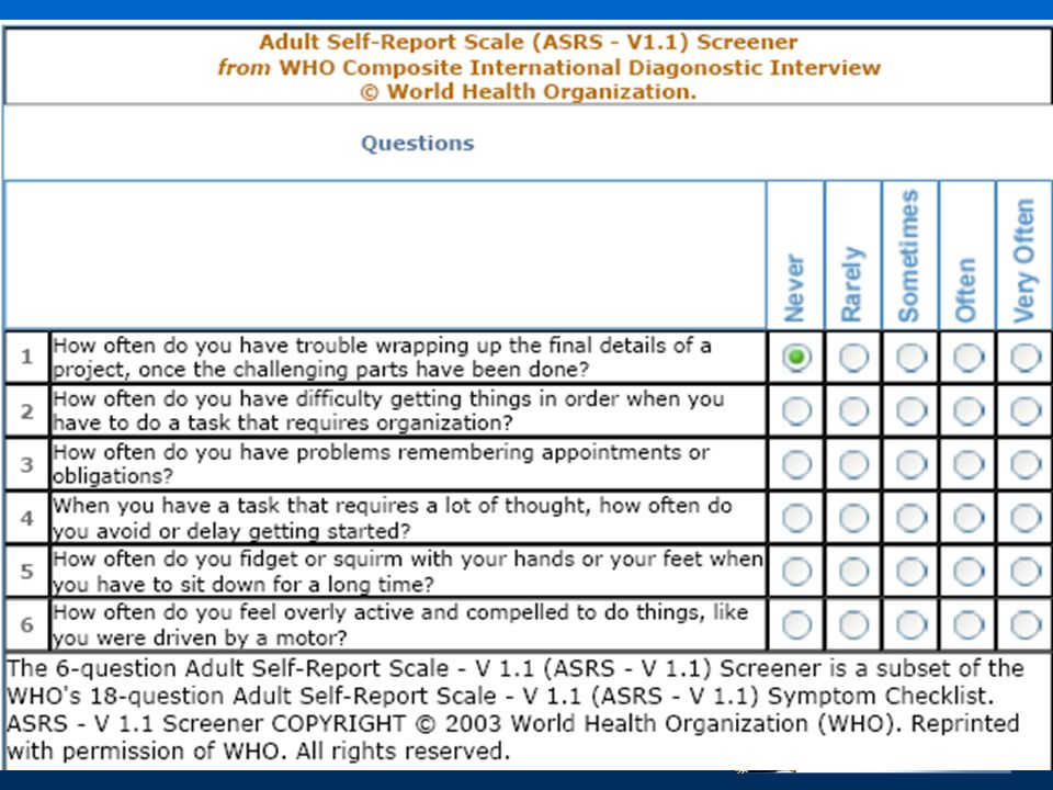 The 6-question Adult Self-Report Scale - V 1. 1 (ASRS - V 1