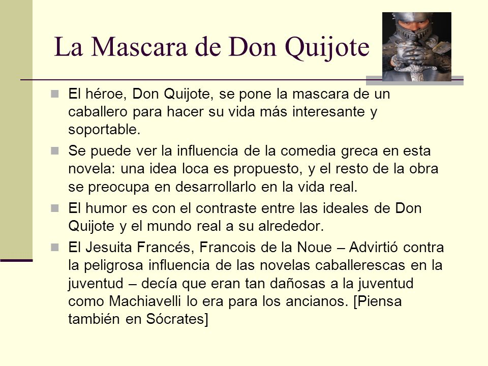 La Mascara de Don Quijote