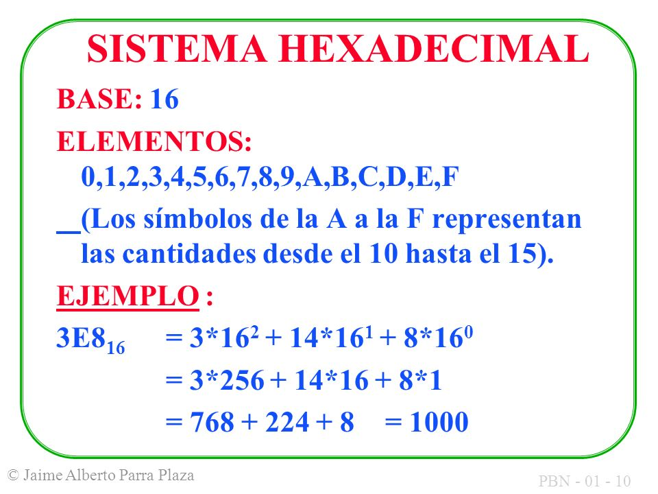 SISTEMA HEXADECIMAL BASE: 16
