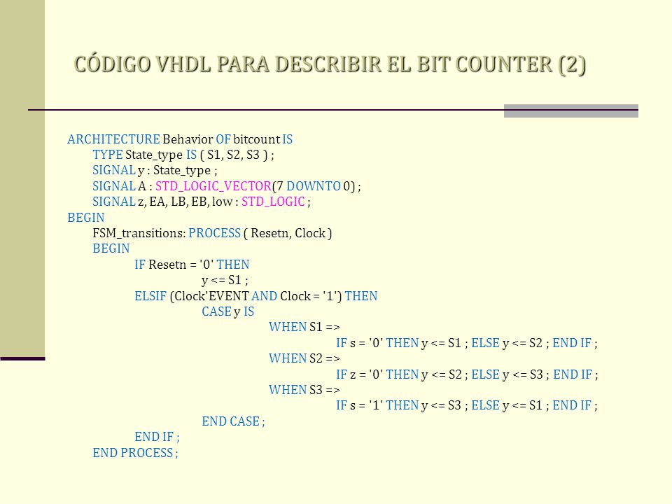 CÓDIGO VHDL PARA DESCRIBIR EL BIT COUNTER (2)