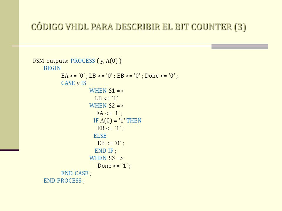 CÓDIGO VHDL PARA DESCRIBIR EL BIT COUNTER (3)