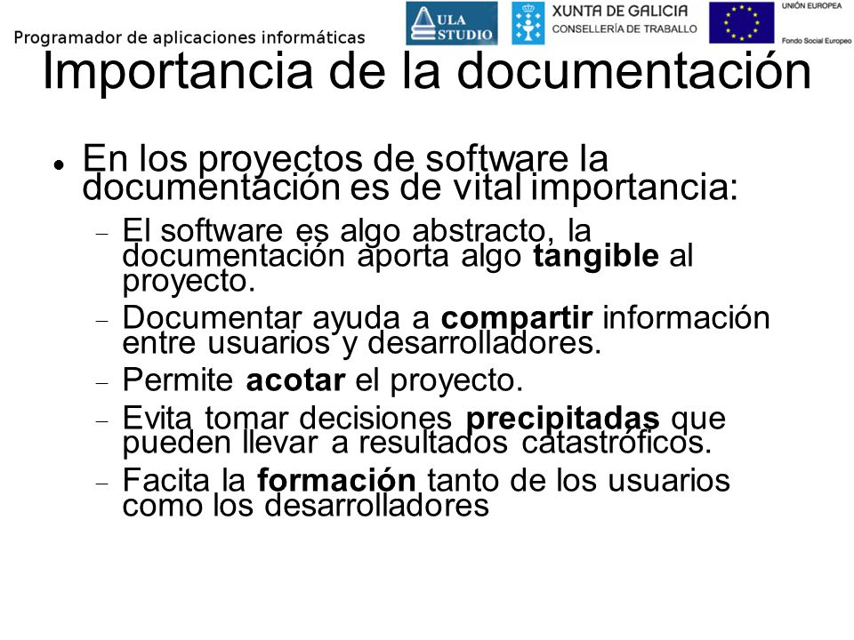Importancia de la documentación