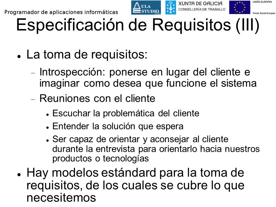 Especificación de Requisitos (III)