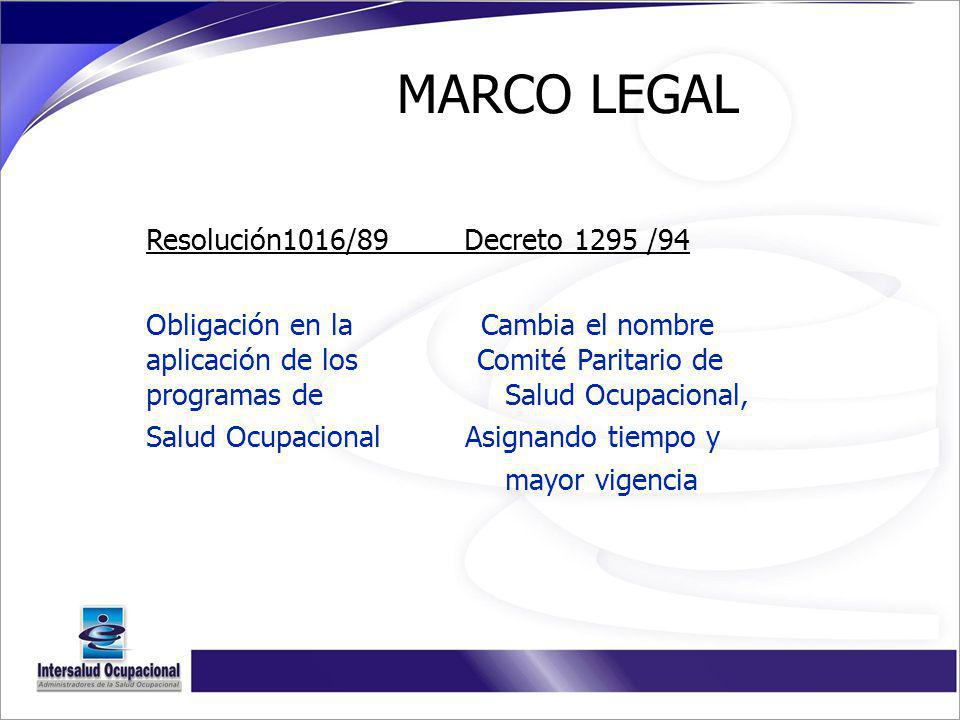 MARCO LEGAL Resolución1016/89 Decreto 1295 /94