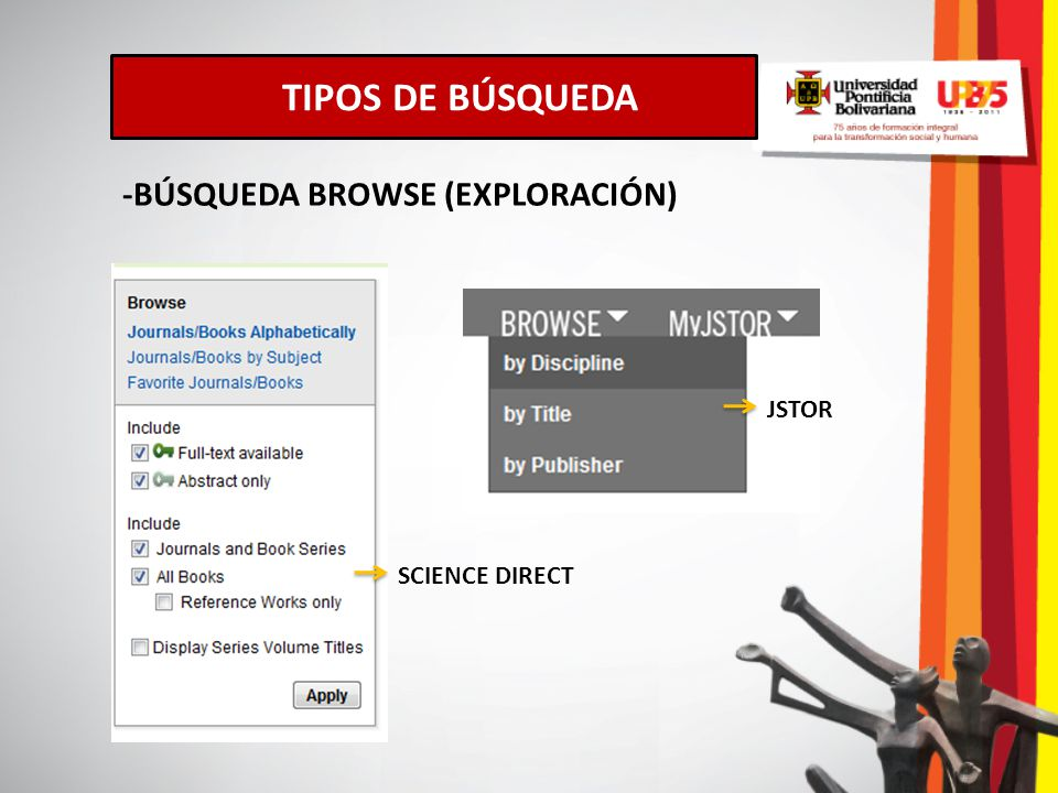 TIPOS DE BÚSQUEDA -BÚSQUEDA BROWSE (EXPLORACIÓN) JSTOR SCIENCE DIRECT