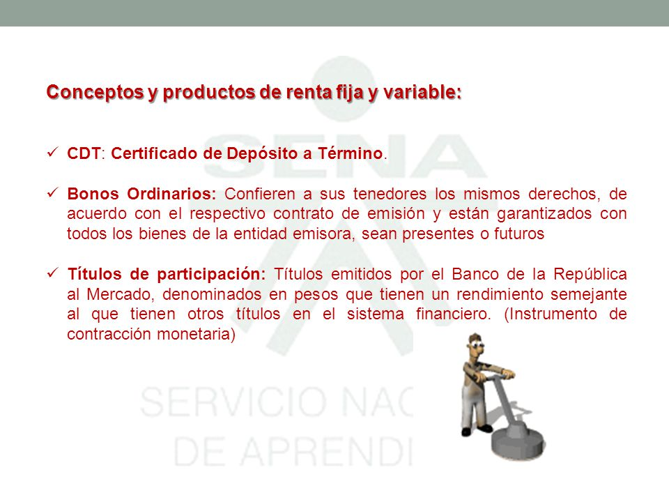 Conceptos y productos de renta fija y variable: