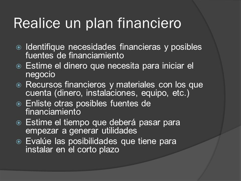 Realice un plan financiero