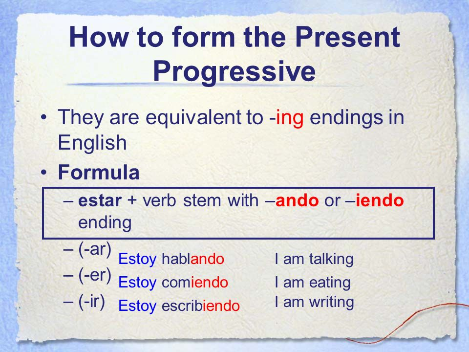 How to form the Present Progressive