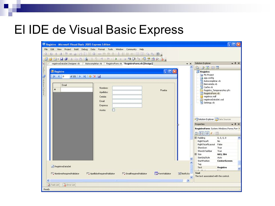 El IDE de Visual Basic Express