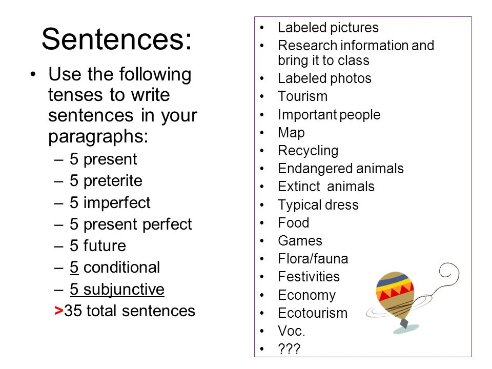 Sentences: Labeled pictures. Research information and bring it to class. Labeled photos. Tourism.