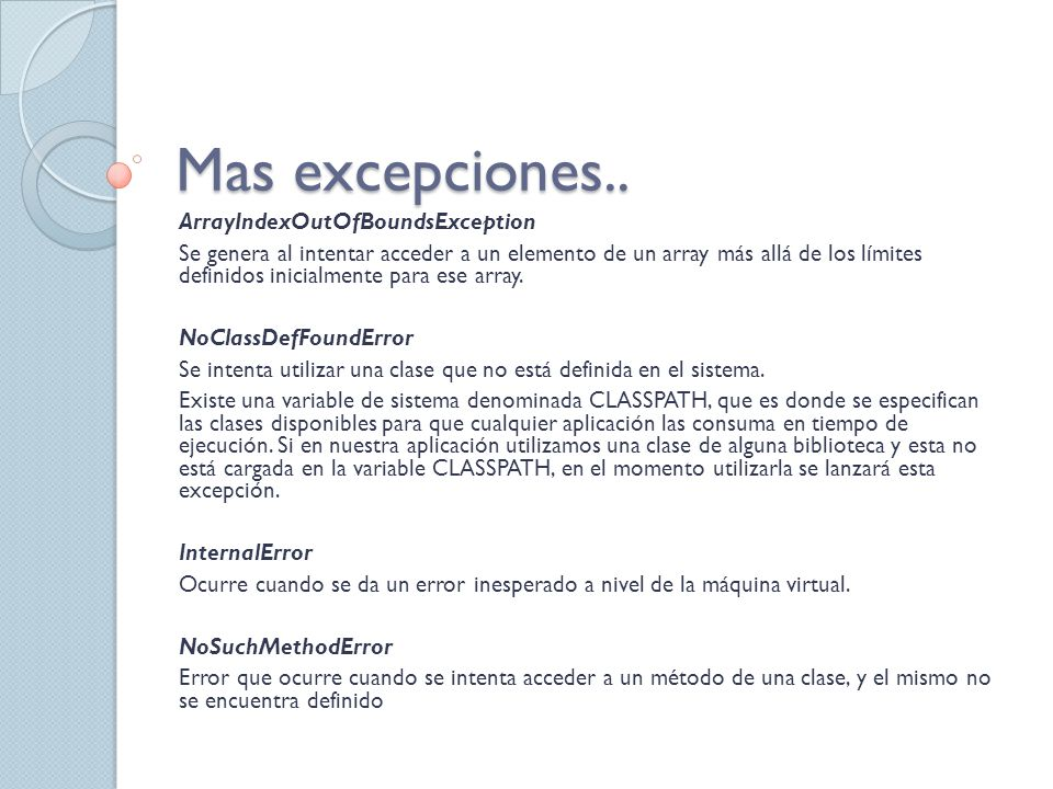 Mas excepciones.. ArrayIndexOutOfBoundsException