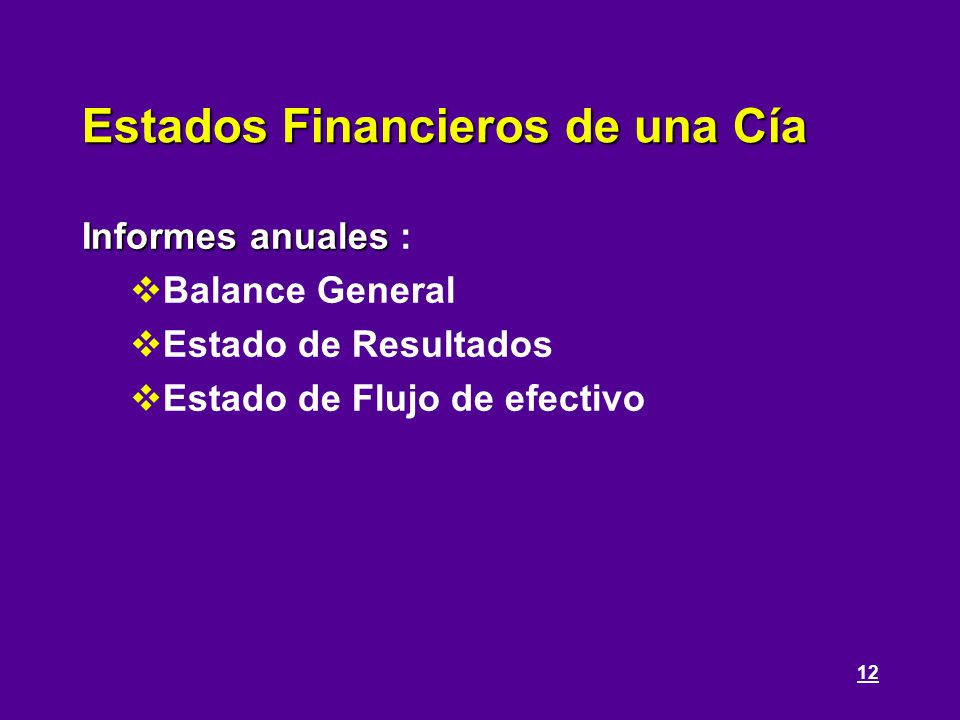 Estados Financieros de una Cía