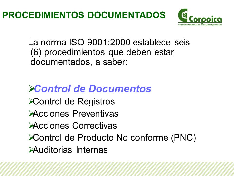 Control de Documentos PROCEDIMIENTOS DOCUMENTADOS
