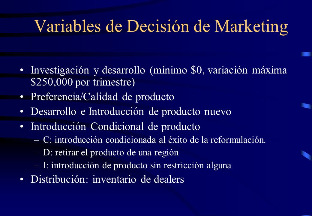 Variables de Decisión de Marketing