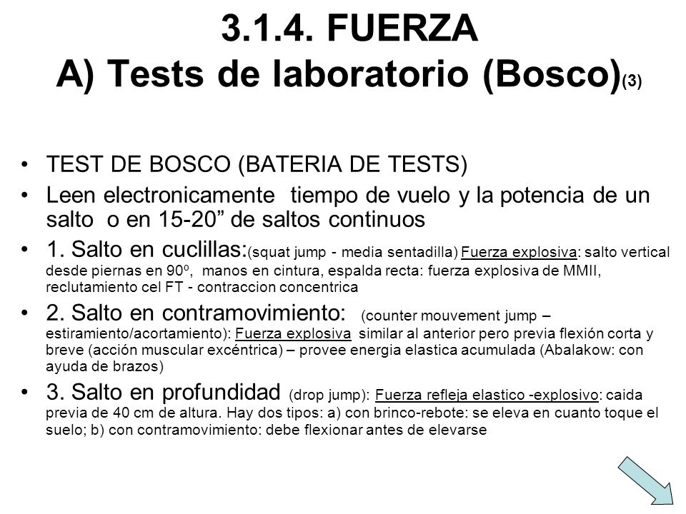 3.1.4. FUERZA A) Tests de laboratorio (Bosco)(3)