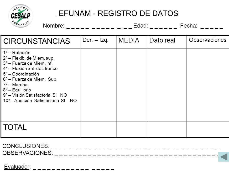 EFUNAM - REGISTRO DE DATOS