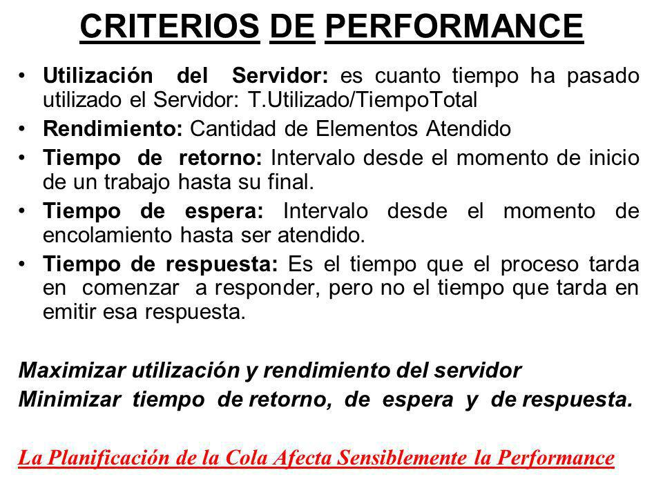 CRITERIOS DE PERFORMANCE