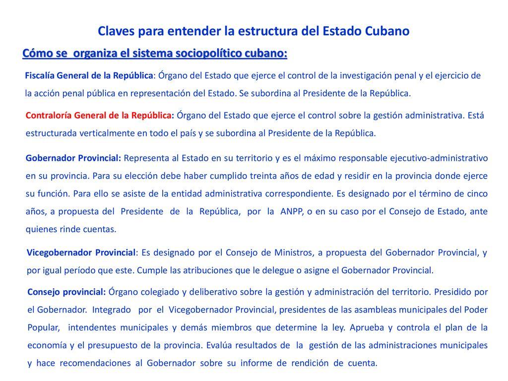 Claves Para Entender La Estructura Del Estado Cubano Ppt