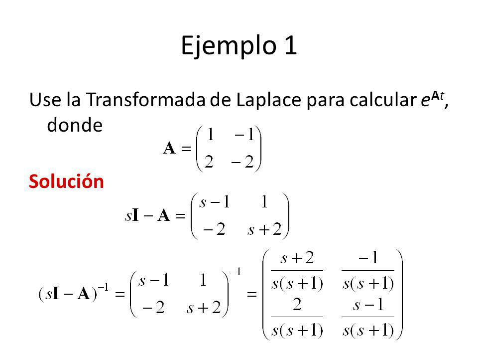 Ejemplo 1 Use la Transformada de Laplace para calcular eAt, donde