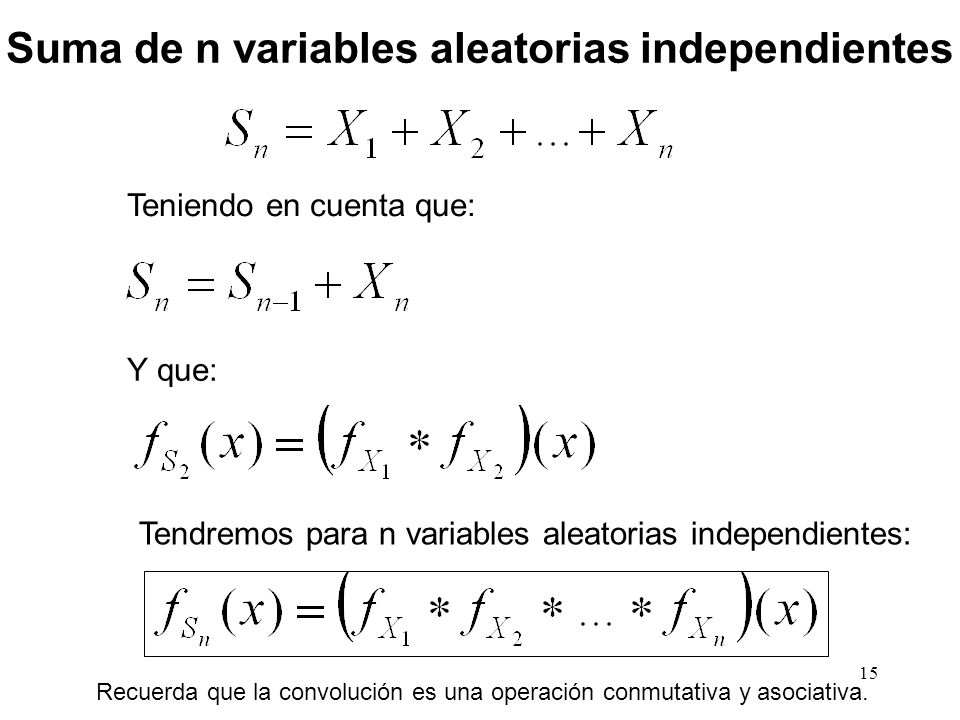 Suma de n variables aleatorias independientes