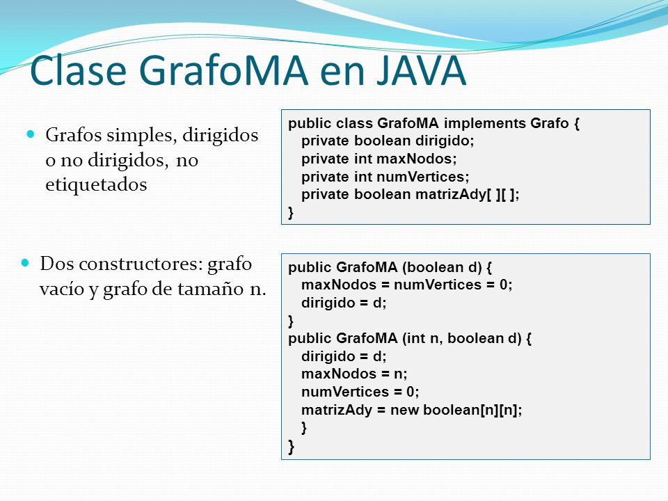Clase GrafoMA en JAVA public class GrafoMA implements Grafo { private boolean dirigido; private int maxNodos;
